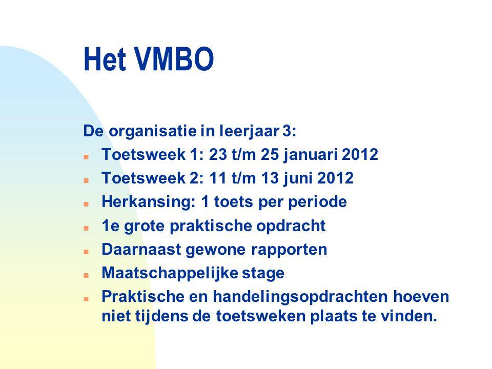 Het VMBO De organisatie in leerjaar 3: n Toetsweek 1: 23 t/m 25 januari 2012 n Toetsweek 2: 11 t/m 13 juni 2012 n Herkansing: 1 toets per periode n 1e
