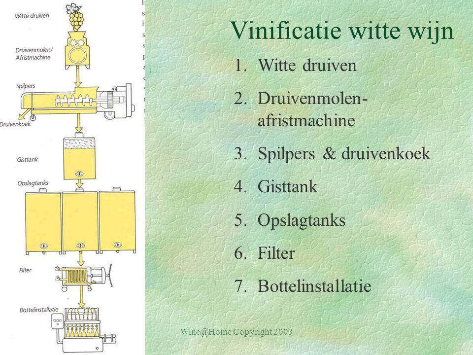 Wine@Home Copyright 2003 Vinificatie witte wijn 1.Witte druiven 2.Druivenmolen- afristmachine 3.Spilpers & druivenkoek 4.Gisttank 5.Opslagtanks 6.Filter 7.Bottelinstallatie