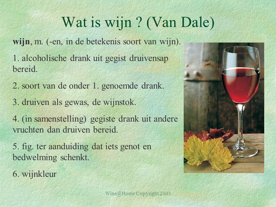 Wine@Home Copyright 2003 Wat is wijn .(Van Dale) wijn, m.