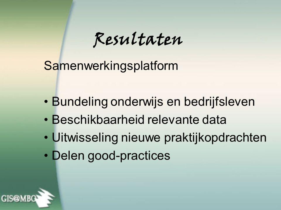 Resultaten 21 ROC's aan de slag met GIS Helft van alle ROC's in Nederland Docententrainingen Volledige ondersteuning Volumevergroting GIS gebruik