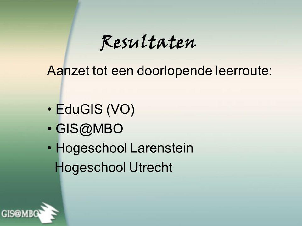 Resultaten GIS maakt het mogelijk: Kenniscentrum GIS in Twente ROC van Twente Integratie van opleidingen Mondriaan College Routeplanner stagebedrijven