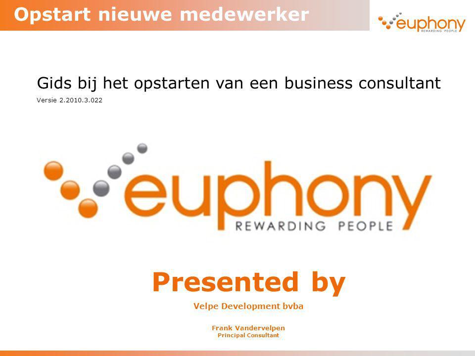 Opstart nieuwe medewerker Presented by Velpe Development bvba Frank Vandervelpen Principal Consultant Gids bij het opstarten van een business consulta