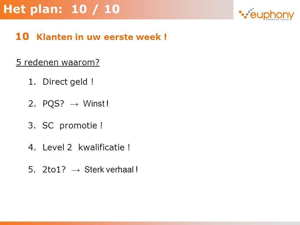Het plan: 10 / 10 5 redenen waarom? 10 Klanten in uw eerste week ! 1. Direct geld ! 2. PQS? → Winst ! 3. SC promotie ! 4. Level 2 kwalificatie ! 5. 2t