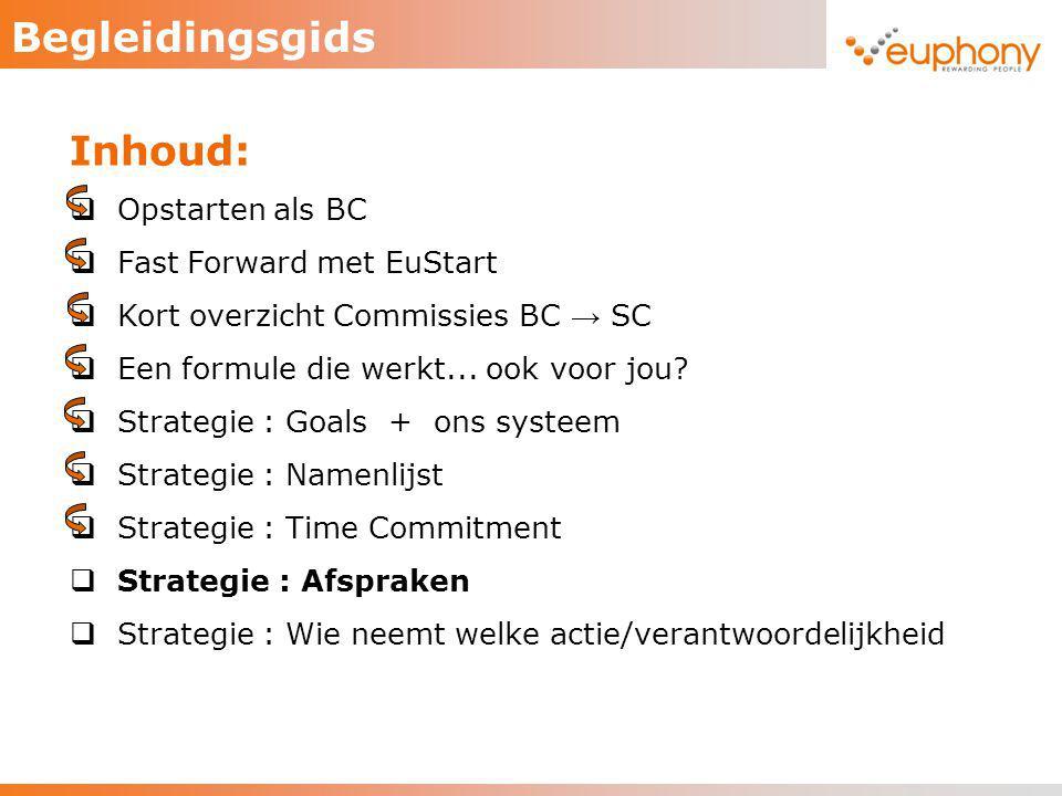 Begleidingsgids Inhoud:  Opstarten als BC  Fast Forward met EuStart  Kort overzicht Commissies BC → SC  Een formule die werkt... ook voor jou?  S