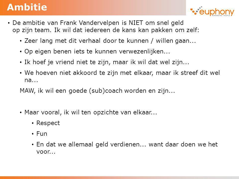 Ambitie De ambitie van Frank Vandervelpen is NIET om snel geld te verdienen op zijn team. Ik wil dat iedereen de kans kan pakken om zelf: Zeer lang me