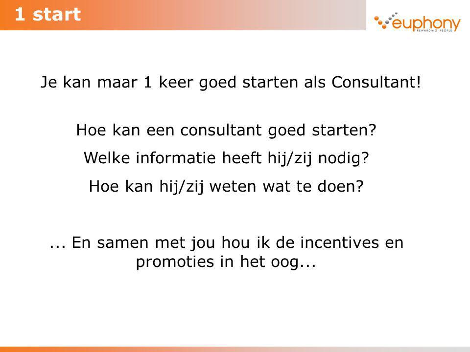 1 start Hoe kan een consultant goed starten? Welke informatie heeft hij/zij nodig? Hoe kan hij/zij weten wat te doen?... En samen met jou hou ik de in