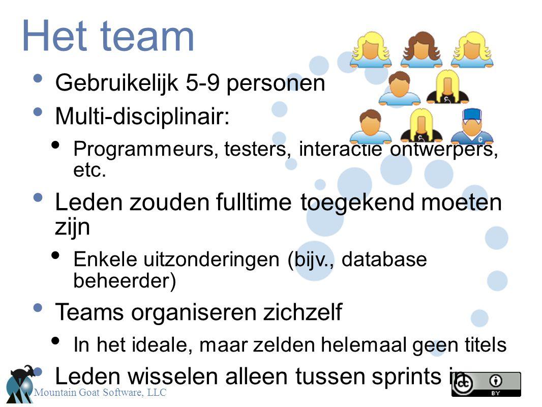 Mountain Goat Software, LLC Het team Gebruikelijk 5-9 personen Multi-disciplinair: Programmeurs, testers, interactie ontwerpers, etc. Leden zouden ful