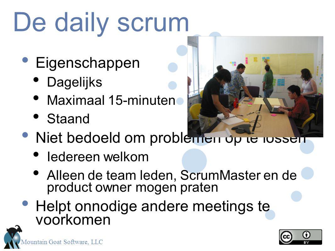 Mountain Goat Software, LLC De daily scrum Eigenschappen Dagelijks Maximaal 15-minuten Staand Niet bedoeld om problemen op te lossen Iedereen welkom A