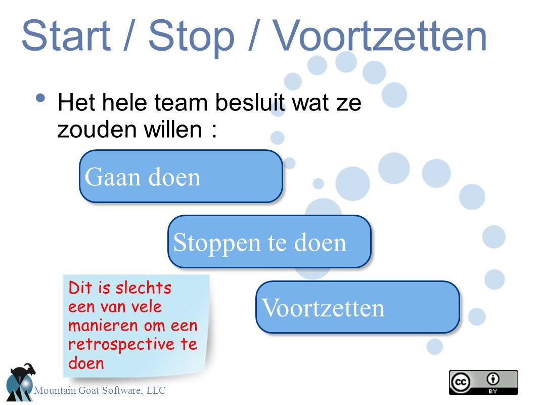 Mountain Goat Software, LLC Start / Stop / Voortzetten Het hele team besluit wat ze zouden willen : Gaan doen Stoppen te doen Voortzetten Dit is slech