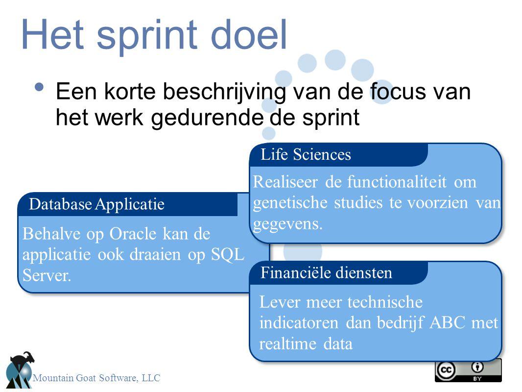Mountain Goat Software, LLC Het sprint doel Een korte beschrijving van de focus van het werk gedurende de sprint Database Applicatie Financiële dienst