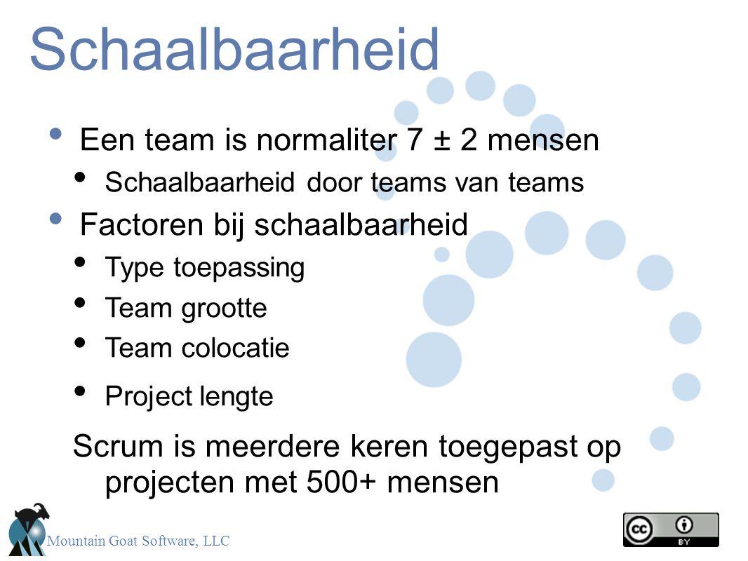 Mountain Goat Software, LLC Schaalbaarheid Een team is normaliter 7 ± 2 mensen Schaalbaarheid door teams van teams Factoren bij schaalbaarheid Type to