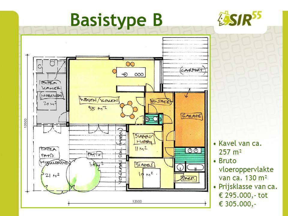 Basistype B Kavel van ca. 257 m² Bruto vloeroppervlakte van ca. 130 m² Prijsklasse van ca. € 295.000,- tot € 305.000,-
