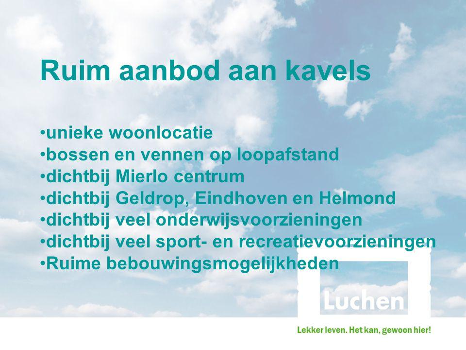 Ruim aanbod aan kavels unieke woonlocatie bossen en vennen op loopafstand dichtbij Mierlo centrum dichtbij Geldrop, Eindhoven en Helmond dichtbij veel