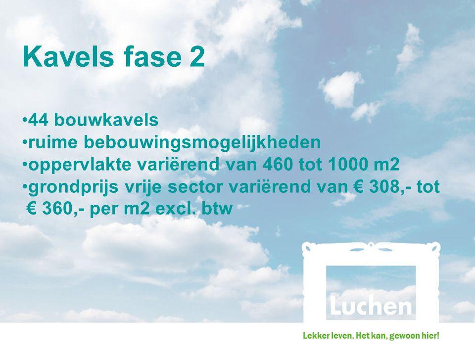 Kavels fase 2 44 bouwkavels ruime bebouwingsmogelijkheden oppervlakte variërend van 460 tot 1000 m2 grondprijs vrije sector variërend van € 308,- tot