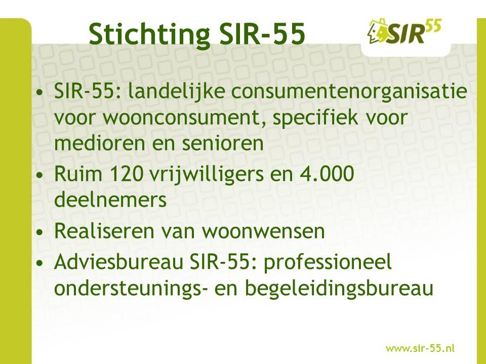 SIR-55: landelijke consumentenorganisatie voor woonconsument, specifiek voor medioren en senioren Ruim 120 vrijwilligers en 4.000 deelnemers Realiseren van woonwensen Adviesbureau SIR-55: professioneel ondersteunings- en begeleidingsbureau Stichting SIR-55 www.sir-55.nl