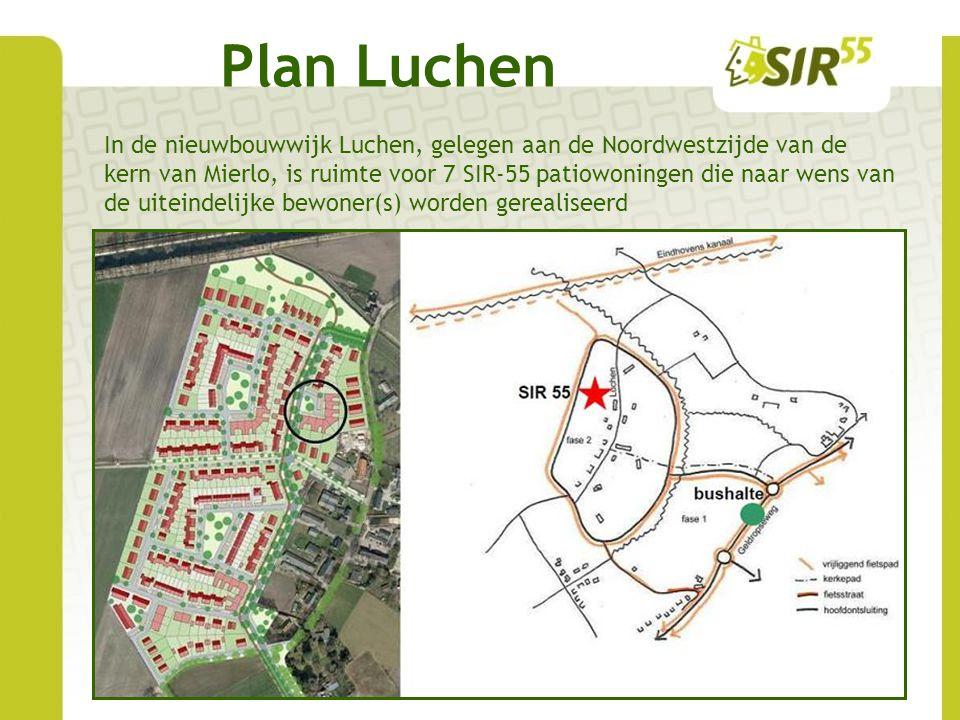 Plan Luchen In de nieuwbouwwijk Luchen, gelegen aan de Noordwestzijde van de kern van Mierlo, is ruimte voor 7 SIR-55 patiowoningen die naar wens van de uiteindelijke bewoner(s) worden gerealiseerd