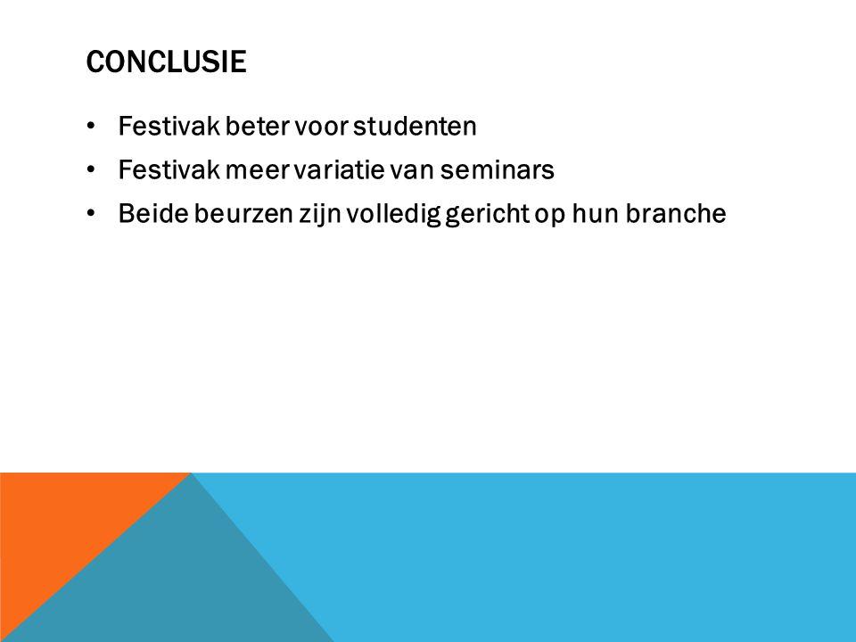CONCLUSIE Festivak beter voor studenten Festivak meer variatie van seminars Beide beurzen zijn volledig gericht op hun branche