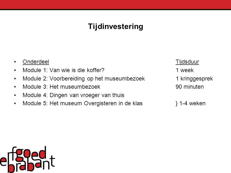 Tijdinvestering OnderdeelTijdsduur Module 1: Van wie is die koffer?1 week Module 2: Voorbereiding op het museumbezoek1 kringgesprek Module 3: Het muse