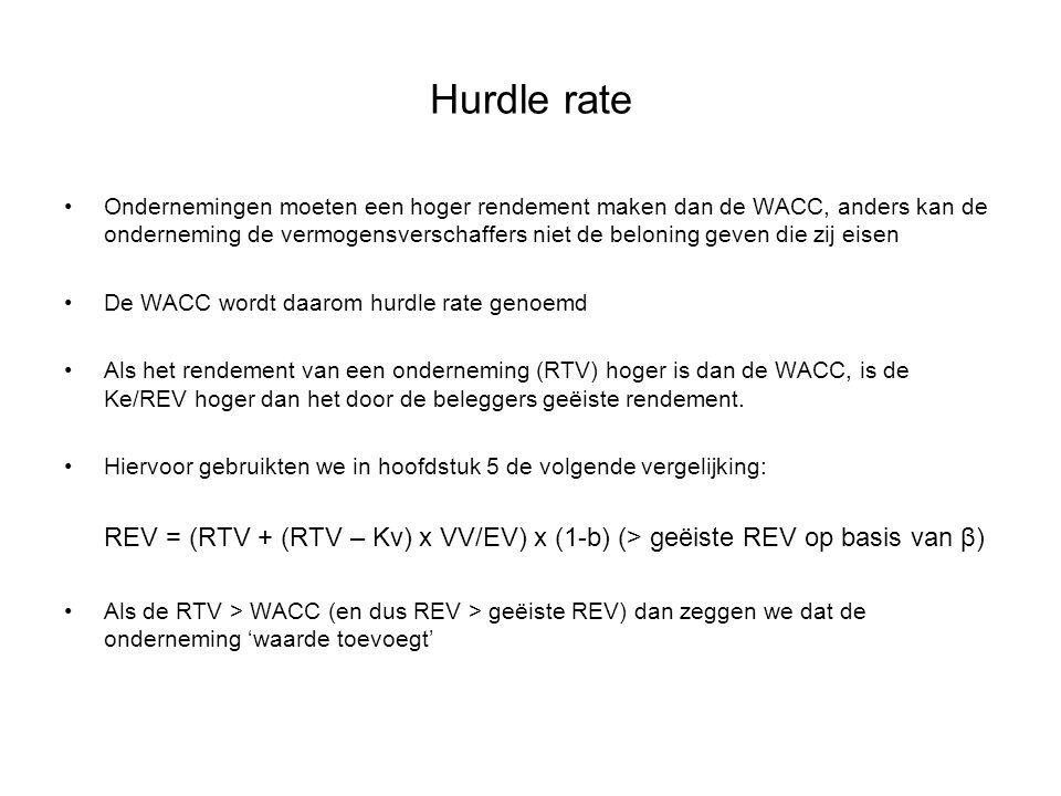 Hurdle rate Ondernemingen moeten een hoger rendement maken dan de WACC, anders kan de onderneming de vermogensverschaffers niet de beloning geven die