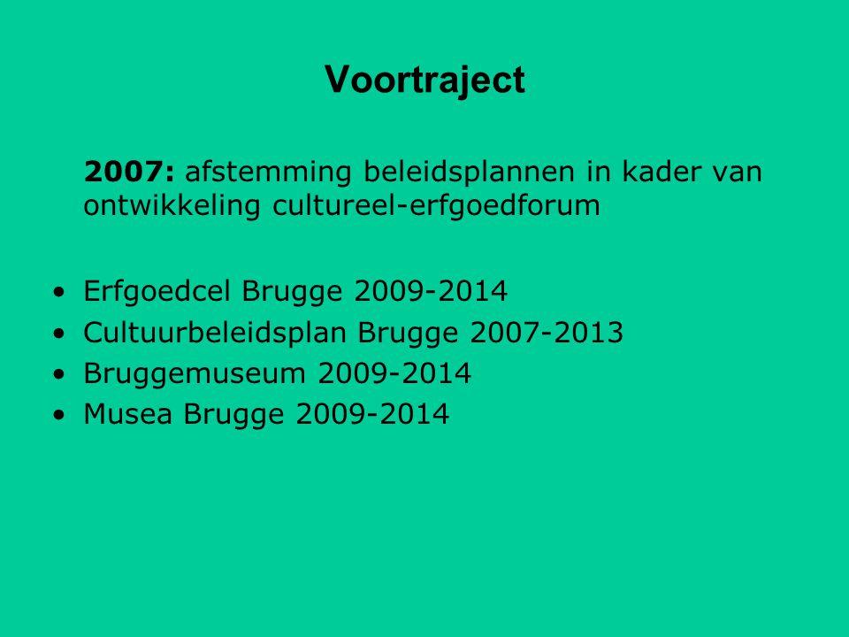 Voortraject 2007: afstemming beleidsplannen in kader van ontwikkeling cultureel-erfgoedforum Erfgoedcel Brugge 2009-2014 Cultuurbeleidsplan Brugge 2007-2013 Bruggemuseum 2009-2014 Musea Brugge 2009-2014