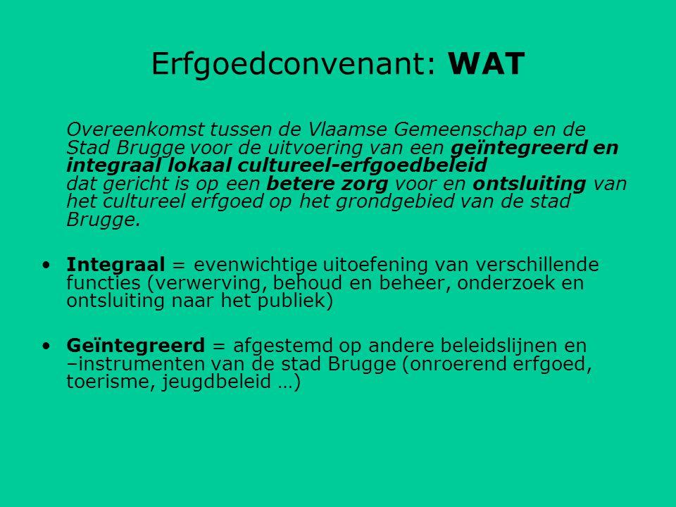 Erfgoedconvenant: WAT Overeenkomst tussen de Vlaamse Gemeenschap en de Stad Brugge voor de uitvoering van een geïntegreerd en integraal lokaal cultureel-erfgoedbeleid dat gericht is op een betere zorg voor en ontsluiting van het cultureel erfgoed op het grondgebied van de stad Brugge.