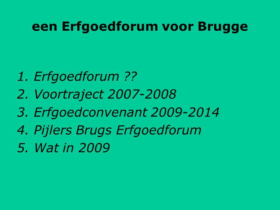 1. Erfgoedforum . 2. Voortraject 2007-2008 3. Erfgoedconvenant 2009-2014 4.