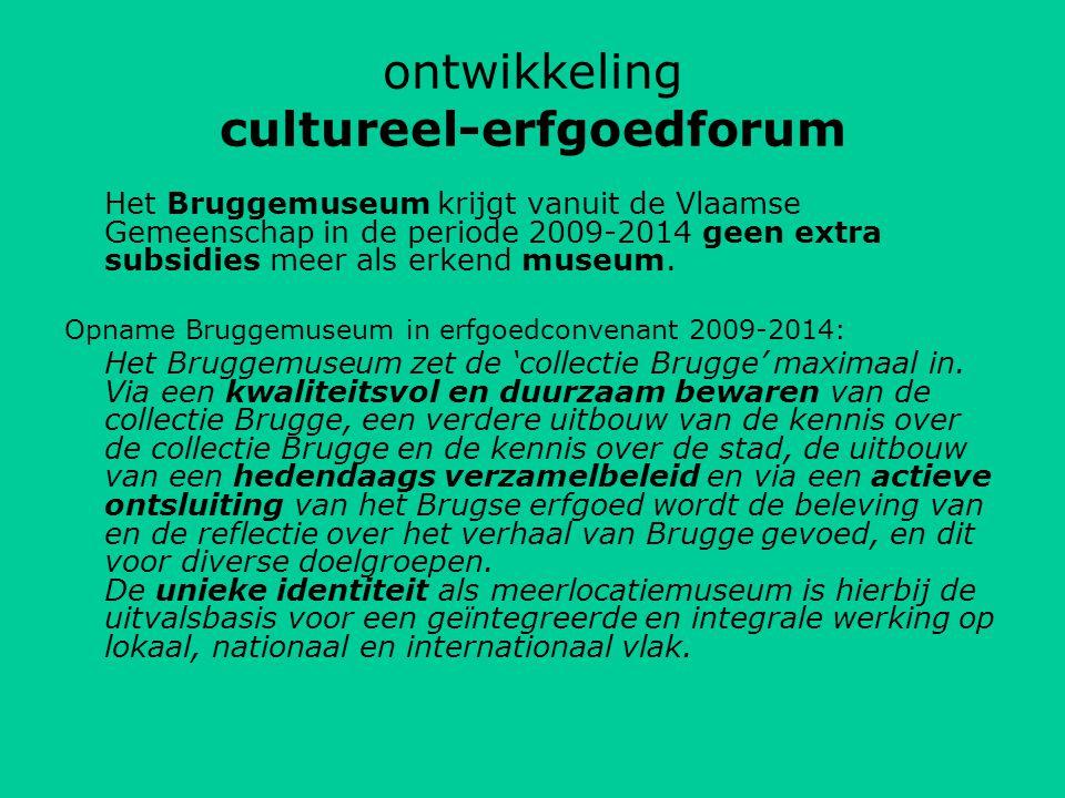 ontwikkeling cultureel-erfgoedforum Het Bruggemuseum krijgt vanuit de Vlaamse Gemeenschap in de periode 2009-2014 geen extra subsidies meer als erkend museum.