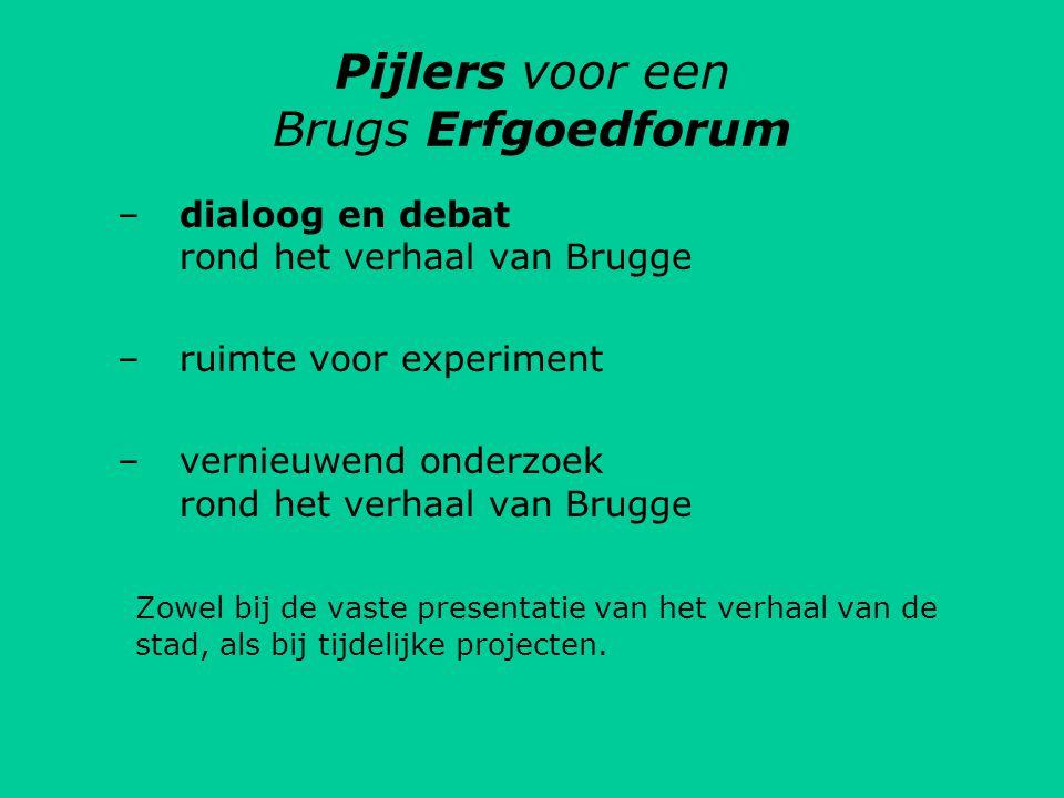 Pijlers voor een Brugs Erfgoedforum –dialoog en debat rond het verhaal van Brugge –ruimte voor experiment –vernieuwend onderzoek rond het verhaal van Brugge Zowel bij de vaste presentatie van het verhaal van de stad, als bij tijdelijke projecten.