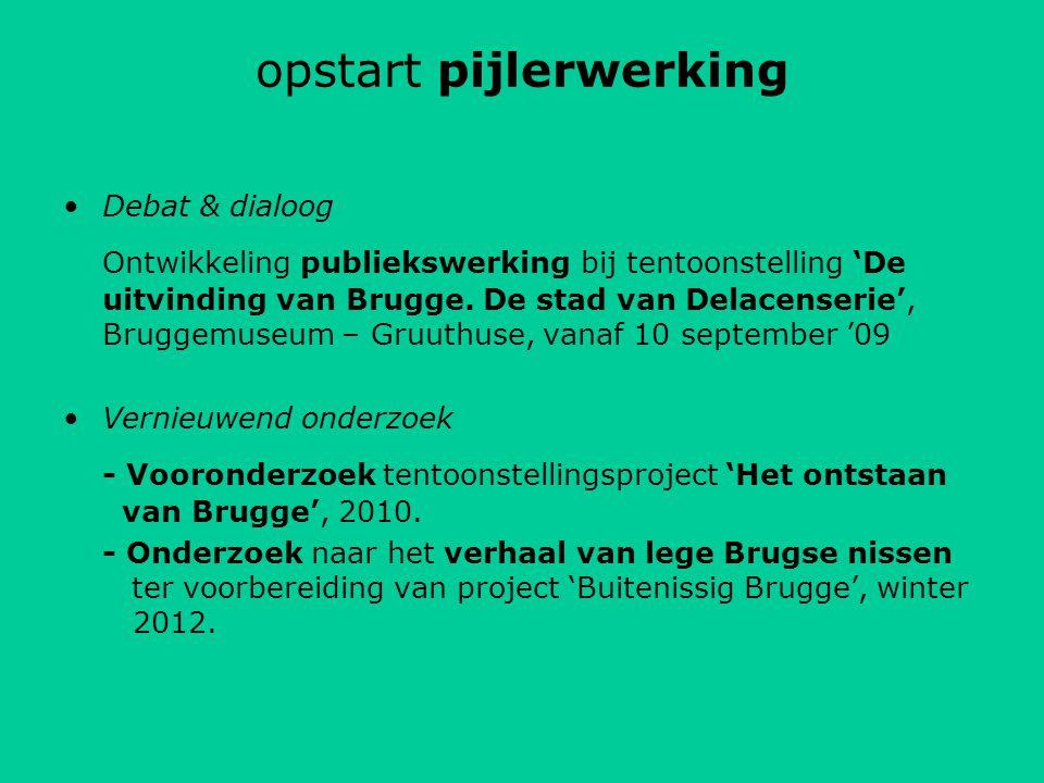 opstart pijlerwerking Debat & dialoog Ontwikkeling publiekswerking bij tentoonstelling 'De uitvinding van Brugge.