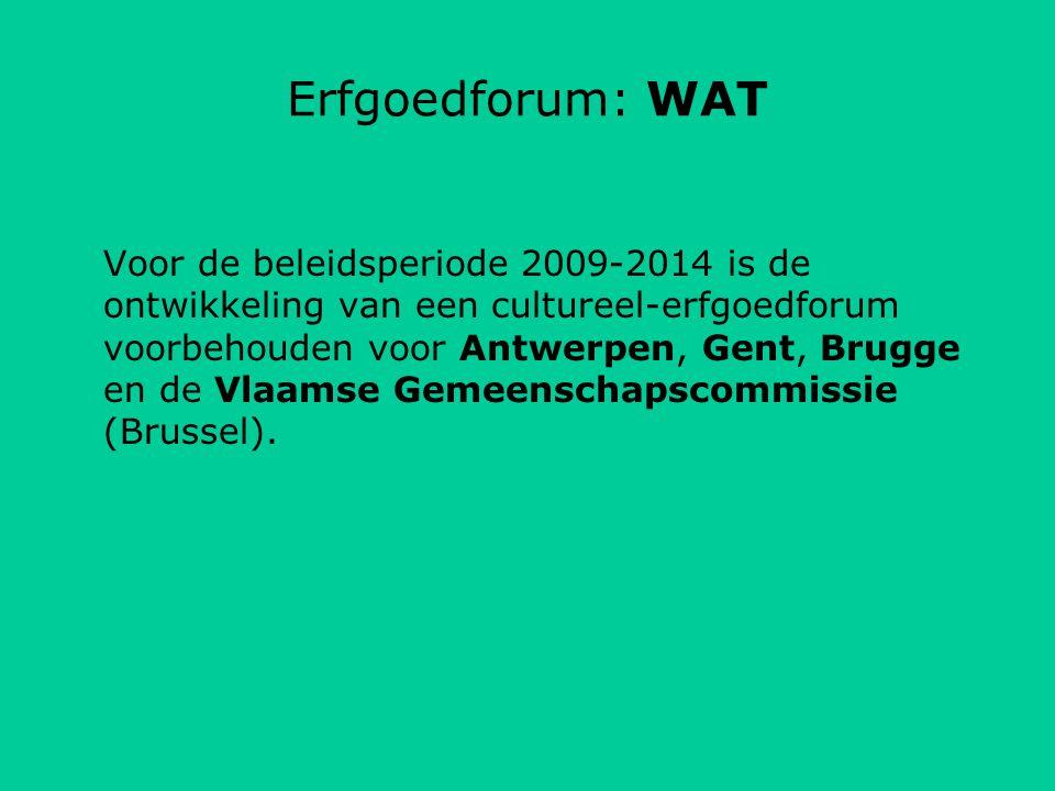 Erfgoedforum: WAT Voor de beleidsperiode 2009-2014 is de ontwikkeling van een cultureel-erfgoedforum voorbehouden voor Antwerpen, Gent, Brugge en de Vlaamse Gemeenschapscommissie (Brussel).