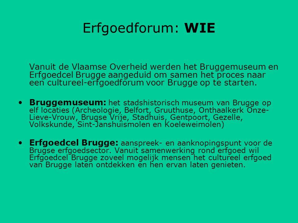 Uit de Erfgoedconvenant 2009-2014 De stad Brugge brengt uiterlijk tegen het einde van 2010 alle cultureel-erfgoedorganisaties en publiektoegankelijke cultureel-erfgoedcollecties op het grondgebied van de stad op een uniforme wijze in kaart, inclusief de noden en behoeften.