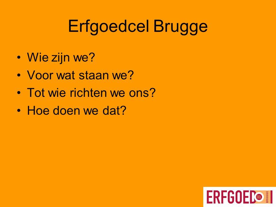 Erfgoedcel Brugge in de praktijk 1.Digitalisering van erfgoed Kennismaking met –www.beeldbankbrugge.bewww.beeldbankbrugge.be –www.verhalenbankbrugge.bewww.verhalenbankbrugge.be –www.huizenonderzoekbrugge.bewww.huizenonderzoekbrugge.be –www.historischebronnenbrugge.bewww.historischebronnenbrugge.be 2.Werken naar specifieke doelgroepen –Onderwijs –Buurten en deelgemeenten –Toerisme –Erfgoedliefhebber