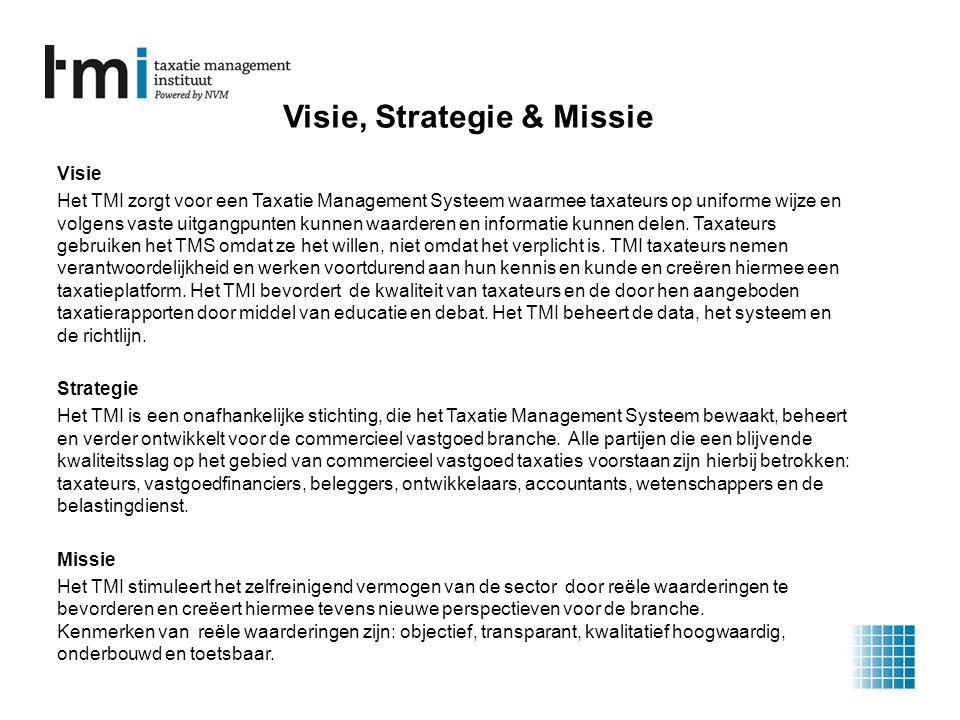 Visie, Strategie & Missie Visie Het TMI zorgt voor een Taxatie Management Systeem waarmee taxateurs op uniforme wijze en volgens vaste uitgangpunten kunnen waarderen en informatie kunnen delen.
