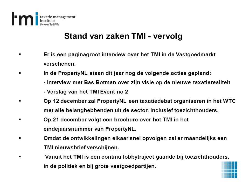 Stand van zaken TMI - vervolg  Er is een paginagroot interview over het TMI in de Vastgoedmarkt verschenen.
