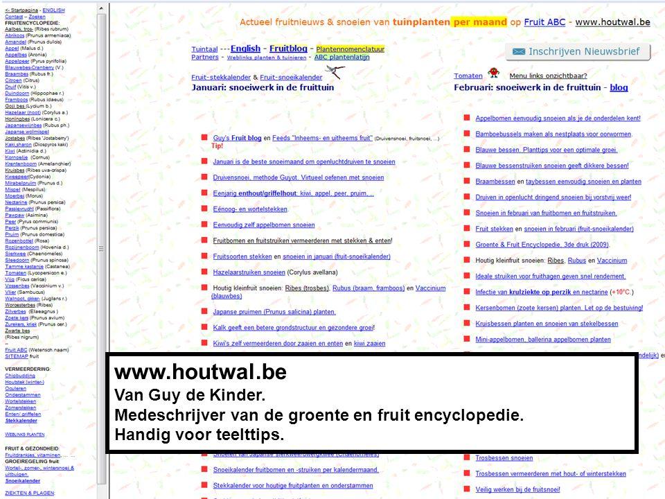 www.houtwal.be Van Guy de Kinder.Medeschrijver van de groente en fruit encyclopedie.