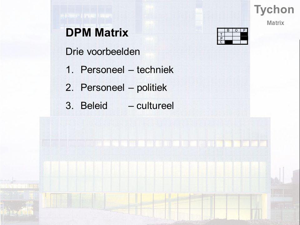 Tychon Matrix DPM Matrix Drie voorbeelden 1.Personeel – techniek 2.Personeel – politiek 3.Beleid – cultureel T B C P PO