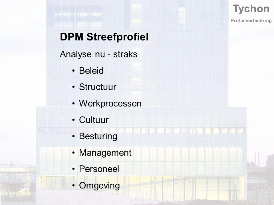 Tychon Profielverbetering DPM Streefprofiel Analyse nu - straks Beleid Structuur Werkprocessen Cultuur Besturing Management Personeel Omgeving