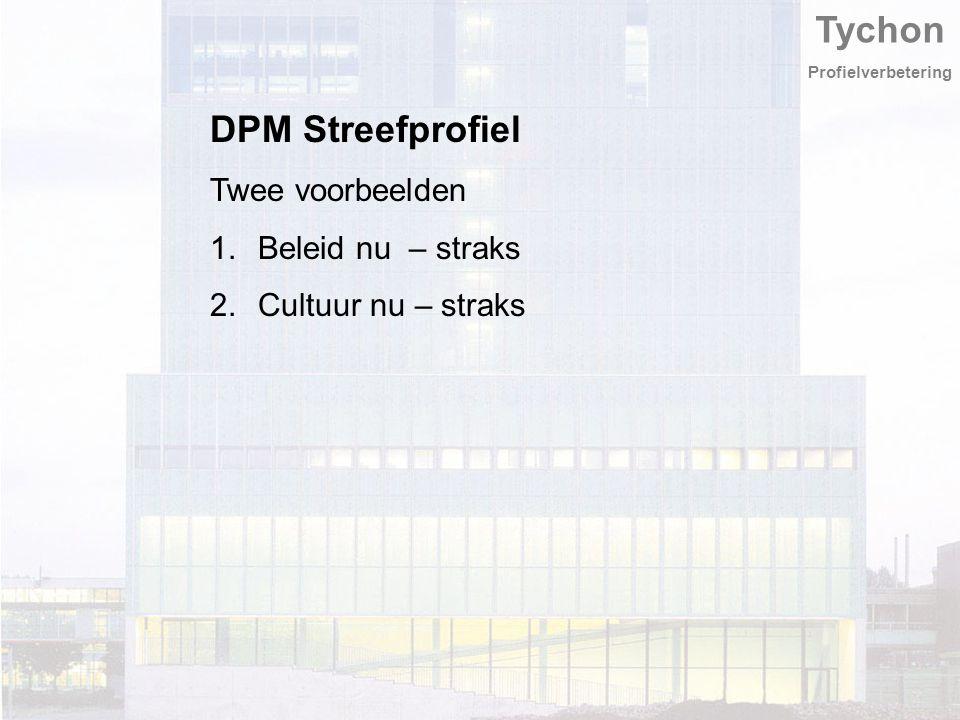 Tychon Profielverbetering DPM Streefprofiel Twee voorbeelden 1.Beleid nu – straks 2.Cultuur nu – straks