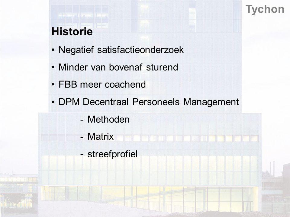 Tychon Historie Negatief satisfactieonderzoek Minder van bovenaf sturend FBB meer coachend DPM Decentraal Personeels Management -Methoden -Matrix -streefprofiel