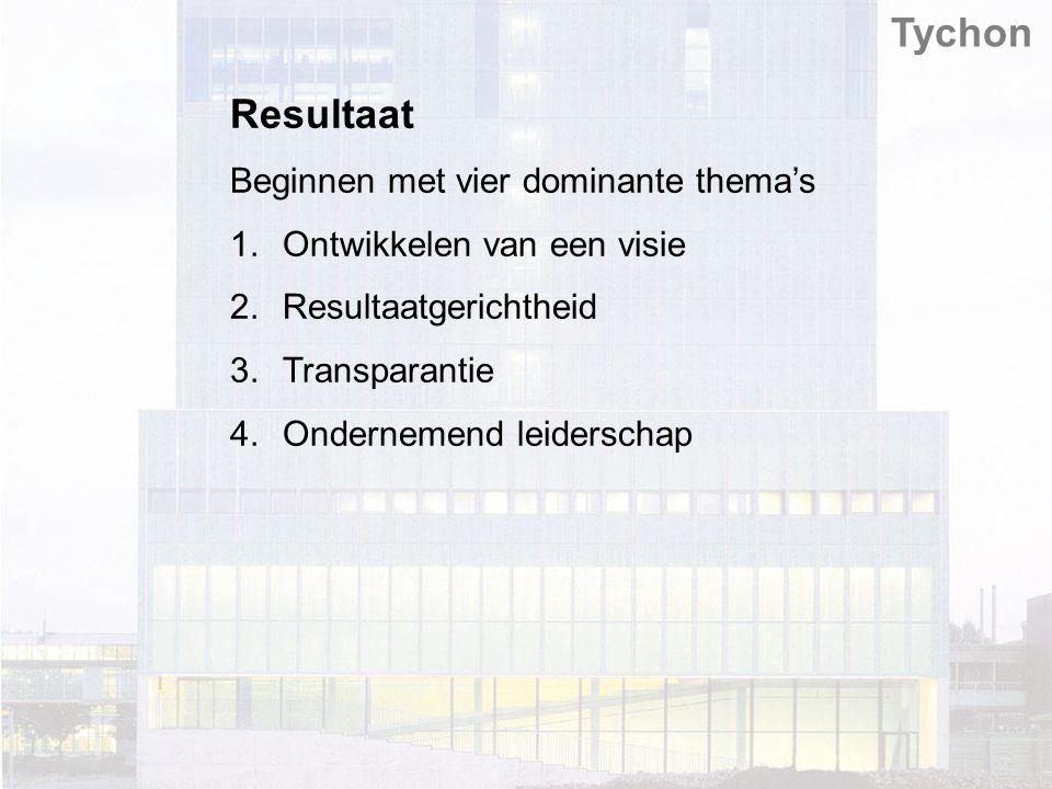 Resultaat Beginnen met vier dominante thema's 1.Ontwikkelen van een visie 2.Resultaatgerichtheid 3.Transparantie 4.Ondernemend leiderschap