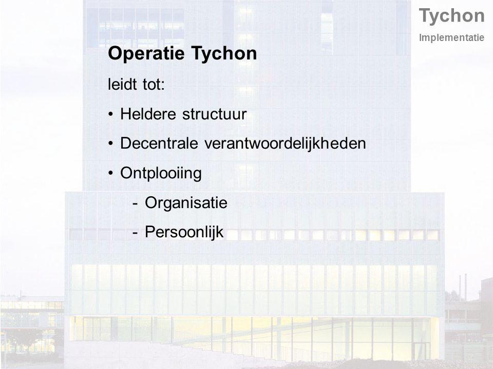 Tychon Implementatie Operatie Tychon leidt tot: Heldere structuur Decentrale verantwoordelijkheden Ontplooiing -Organisatie -Persoonlijk