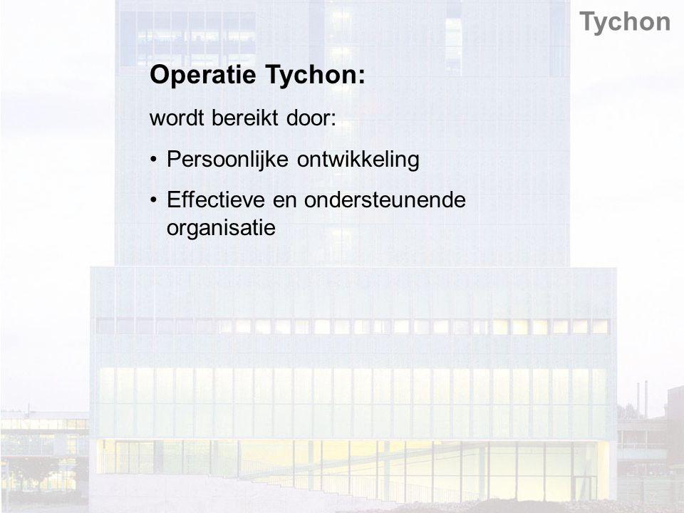 Tychon Operatie Tychon: wordt bereikt door: Persoonlijke ontwikkeling Effectieve en ondersteunende organisatie