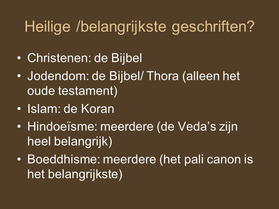 Goden? Islam: Allah Christendom: God en Jezus Jodendom: God Hindoeïsme: meerdere goden Boeddhisme: Boeddha maar dat is eigenlijk niet echt een god