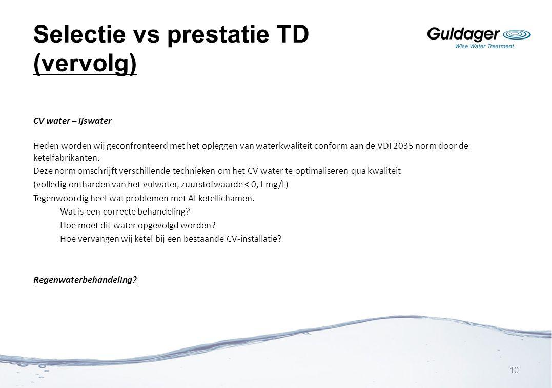 Selectie vs prestatie TD (vervolg) CV water – ijswater Heden worden wij geconfronteerd met het opleggen van waterkwaliteit conform aan de VDI 2035 nor