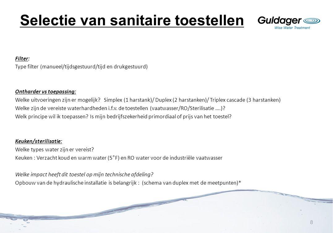 Selectie van sanitaire toestellen Filter: Type filter (manueel/tijdsgestuurd/tijd en drukgestuurd) Ontharder vs toepassing: Welke uitvoeringen zijn er