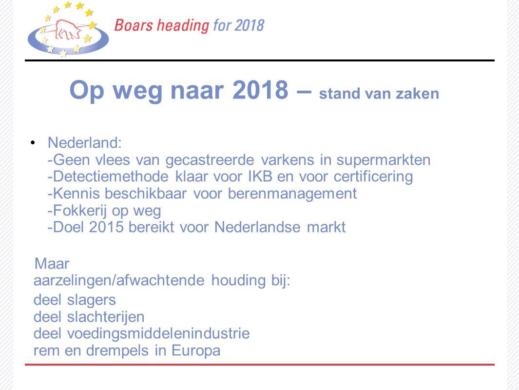 Op weg naar 2018 – stand van zaken Nederland: -Geen vlees van gecastreerde varkens in supermarkten -Detectiemethode klaar voor IKB en voor certificeri