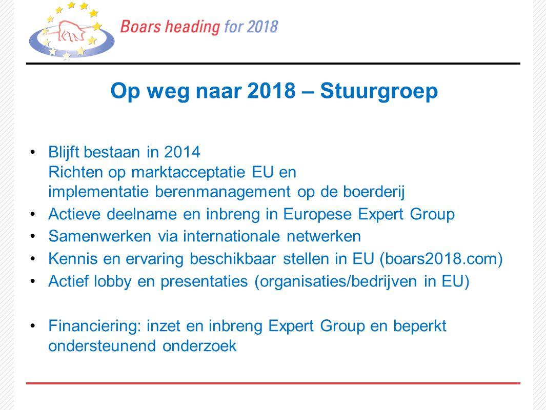 Op weg naar 2018 – Stuurgroep Blijft bestaan in 2014 Richten op marktacceptatie EU en implementatie berenmanagement op de boerderij Actieve deelname e