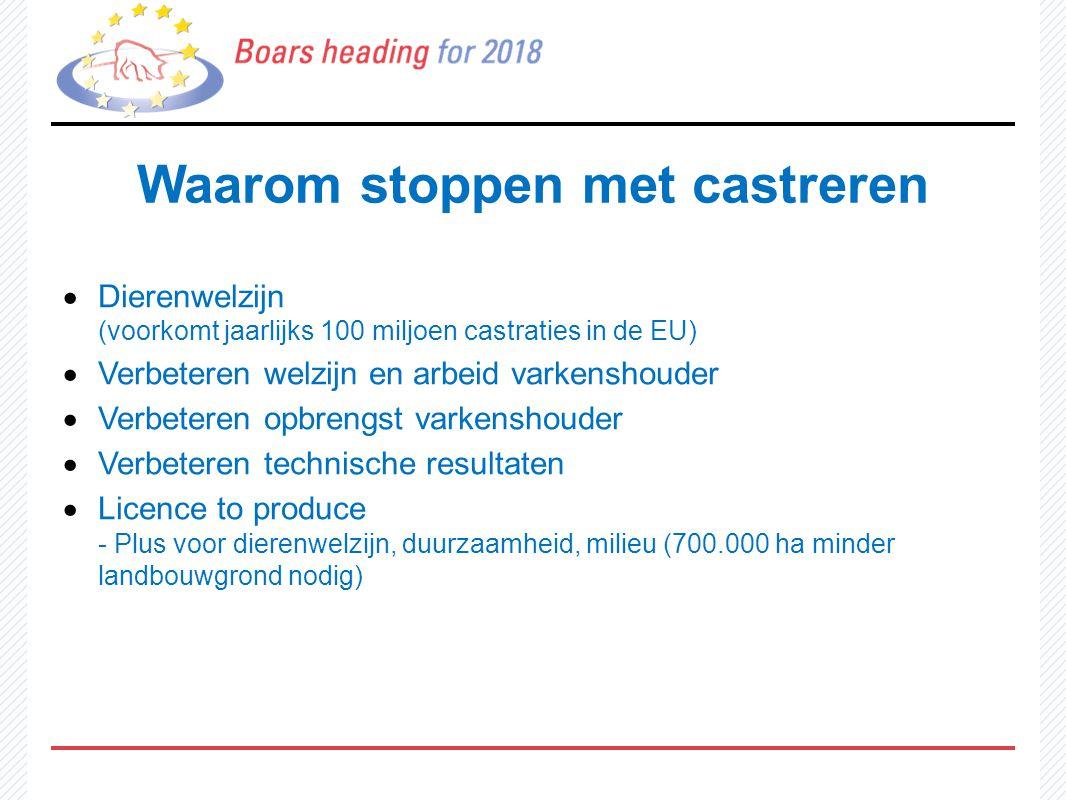 Waarom stoppen met castreren  Dierenwelzijn (voorkomt jaarlijks 100 miljoen castraties in de EU)  Verbeteren welzijn en arbeid varkenshouder  Verbe
