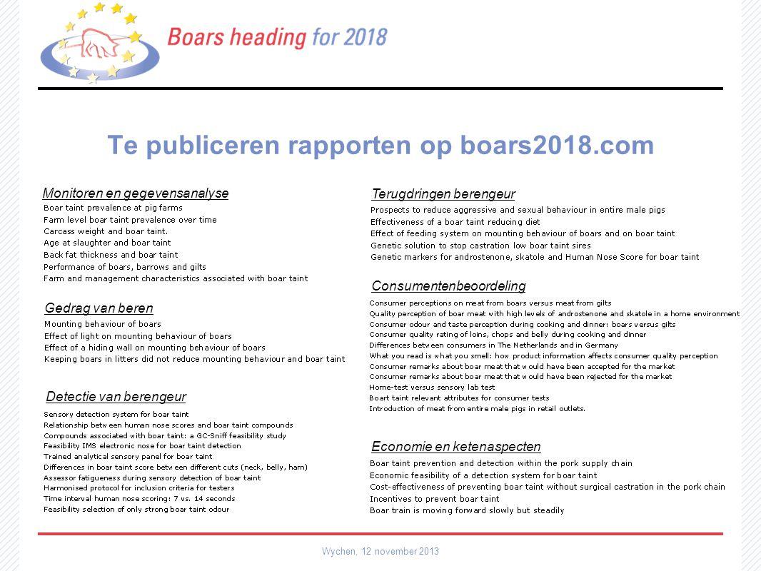 Te publiceren rapporten op boars2018.com Wychen, 12 november 2013 Monitoren en gegevensanalyse Terugdringen berengeur Consumentenbeoordeling Economie