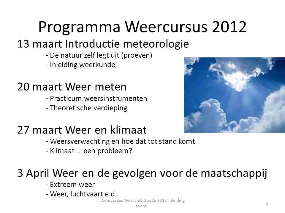 Programma Weercursus 2012 13 maart Introductie meteorologie - De natuur zelf legt uit (proeven) - Inleiding weerkunde 20 maart Weer meten - Practicum